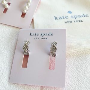 Kate Spade Gatsby Dot Huggie Earrings Silver
